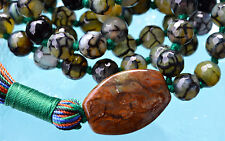 8 mm Dragon Vein Agate Mala Beads, 108 Hand Knotted Yoga Mala Beads