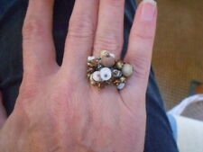 DIBBLY BOBBLY RING, BRONZY EDGED JEWELS & BEADS WITH SHELLS& CRYSTAL, ADJ