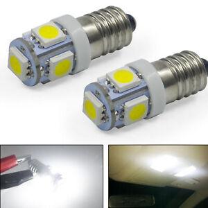 10x E10 LED 6V DC Bicycle 5 SMD Screw Base Lamp Bulbs White