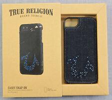 TRUE RELIGION  AUTHENTIC  BLUE DENIM SWAROVSKI  LEATHER  APPLE iPHONE 5 CASE NWT