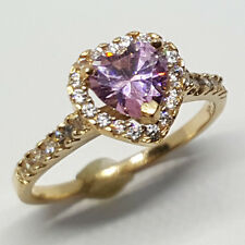 14K solid yellow gold heart shape faceted Rose Quartz/white Topaz wedding ring
