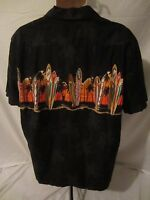 RJC Surfboard Hawaiian Short Sleeve Black Shirt  Men's XL  Made in Hawaii - 1049