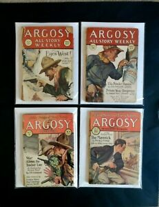 ARGOSY WEEKLY PULP MAGAZINE LOT OF ( 4 ) 1927 1928 1929 1930 WESTERN COVERS