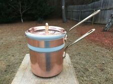 WILLIAM SONOMA MAUVIEL  HAMMERED COPPER BAIN MARIE TIN/BRASS 1.8 QT. 8.5""