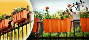 CROWN modern flower pot bridge for railing balcony box 4 colours and 3 sizes