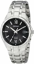 Seiko SNE215 Mens Stainless Steel Solar Quartz Black Dial 100M Date Watch