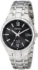 Seiko SNE215 Mens Stainless Steel Solar Quartz Black Dial 100M Date Watch