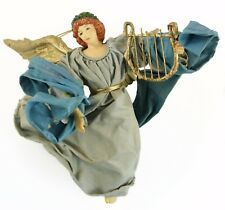 Gold Grey Fabric Angel Lyre Instrument Christmas Ornament Holiday Decoration
