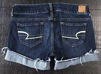 American Eagle Cut off Low Rise Cuffed Denim blue Jean Shorts size 8