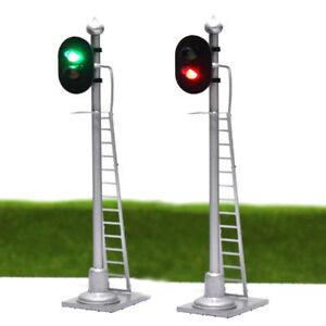 JTD873GR 3pcs Model Railway HO Scale Traffic Signal 2-Lights Block Signal 6cm
