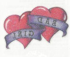 Glitter Bad Girl Double heart Temporary Tattoo Med size