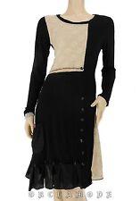 Robe DUOLINE noir beige T. S / M  36 / 38 1 / 2 poche volant manche NEUF tunique