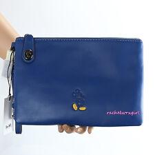 NWT Disney X Coach Mickey Mouse Blue Turnlock Wristlet Folio Clutch 65792 RARE