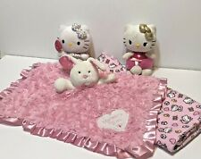 Lot 4 Hello Kitty Receiving Blanket with 2 Plush and Okie Dokie Security Lovey