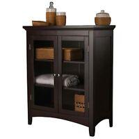 Double-Door Floor Cabinet Espresso Classic Traditional Bathroom Hallway Storage