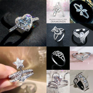 Shine White Sapphire Jewelry Ring Women 925 Silver Engagement Rings Size 6-10