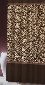 Famous Home Fashions Leopard Brown Fabric Shower Curtain 70x70 NWT