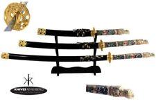 Set of 4PCS Japanese Samurai Katana Sword w/ Black Scabbard Dragon Body Handle