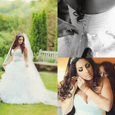 New A-Line Strapless Beads Wedding Dress Bridal Gown Custom Plus Size 2017
