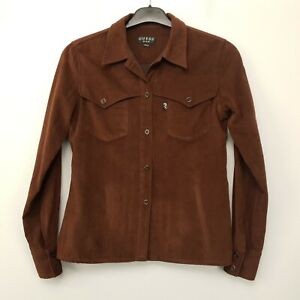 GUESS Womens Vintage THICK Shirt Suede Button-Up SMALL Brown Regular Polyester