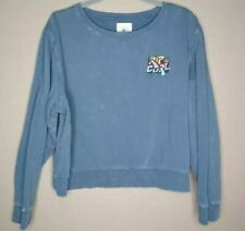 RIP CURL Womens Sweatshirt Blue Pullover Scoop Neck Spell Out Long Sleeve S