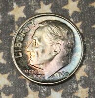1960 ROOSEVELT SILVER DIME TONED COLLECTOR COIN *FREE SHIPPING*