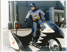 Batman TV series Adam West standing on Batcycle 8x10 photo