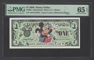 Disney Dollar 1 $  2000 DIS65 Mickey Block A-A Uncirculated Grade 65