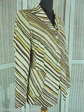 "JESIRÉ Diagonally Striped Blazer 40"" Bust UK10/EU38 Jesire Suit Jacket Neutrals"