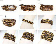 Handmade Natural Grade AAA Tiger's Eye Gemstone Beads Wrap Leather Bracelet