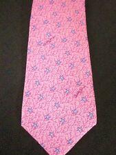 "BOBBY JONES USA  Pink Silk Star Print Print Necktie Tie SIZE 3.5"" x 59"""