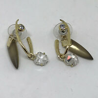 Alexis Bittar Gold Plated Crystal Stud Dangle Lucite Earrings Signed