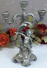 Kerzenleuchter Engel Barock Leuchter Kerzenständer Antik Kerzenhalter silber Neu