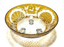 Amber Antique Bohemian Crystal Footed Bowl With Etched Decorations
