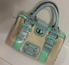 Guess Multi Color Colorblock Croco Ohara Patent Leather Large Handbag Purse Tote