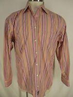 Burberry London Mens Pink Stripe Long Sleeve Cotton Shirt M