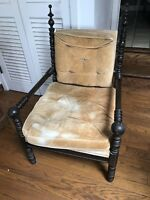Antique Hand Carved Brown Oak Wood Gothic Chair