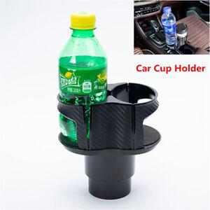 Car Dual Cup Holder Center Console Carbon Fiber Look Water Bottle Drink Holder
