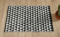 Indian Chindi Rag Rug Hand Woven Black & White Rectangle Fair Trade Carpet Mat