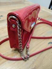 NINE WEST small -Red Faux leather Cross-body,( Snap Closure/ Silver Chain)