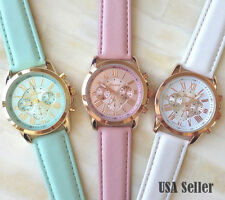 Women's Geneva Roman numerals quartz analog fashion leather wrist watch