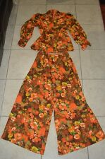 VINTAGE Orange Floral Pantsuit Ladies 60's 70's Handmade Mod Retro Bell Bottom