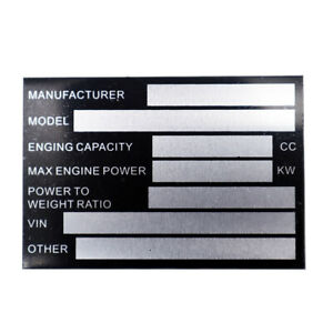 Pre- Engraved Vin Chassis Plates QUAD BIKE TRIKE Plate Plant Recovery Horse Box