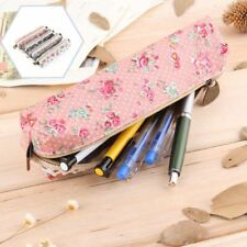 Girls Retro Dot Flower Floral Lace Canvas Bag Pen Bag Makeup Pouch Pencil Case