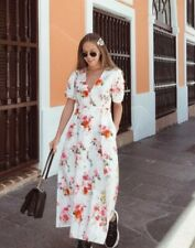 ZARA NEW LINEN FLORAL PRINTED LONG DRESS SIZE S