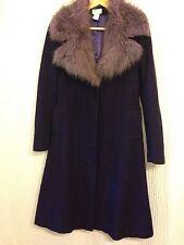 CLOTHES Purple Tweed Coat Fur Collar Dressy Size 8