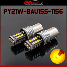 2x PY21W BAU15S 1156 Set Amber Orange Rear LED Bulbs Blinker Index Light CANBUS