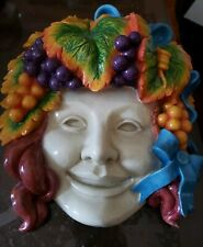 Design Toscano Face Head Grapevine Hair Colorful Wall Sculpture Handcrafted