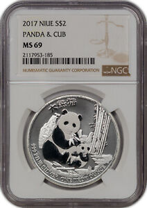 2017 NIUE SILVER 2 DOLLARS PANDA & CUB NGC MS 69 PROOF FINEST KNOWN***