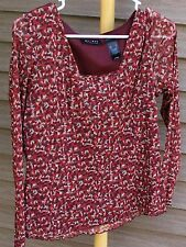 Women's Red Print Shirt by Axcess; Size:  L